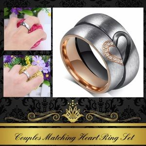 4mm Titanium Steel Heart Wedding Couples Band Ring
